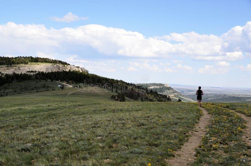 Идущая женщина тропки стоковая фотография rf