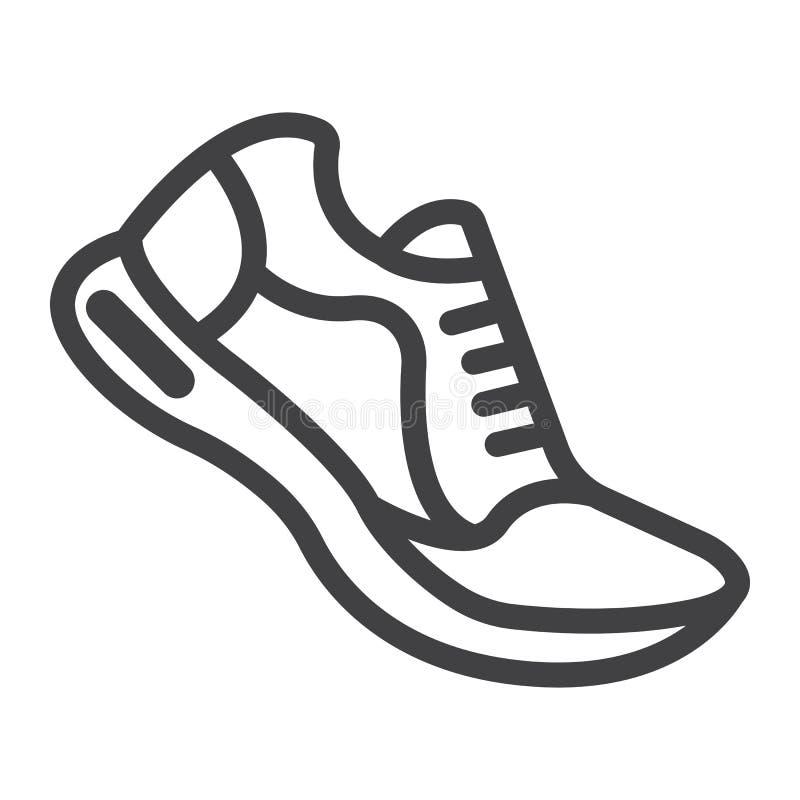 Идущие ботинки выравнивают значок, фитнес и спорт иллюстрация штока