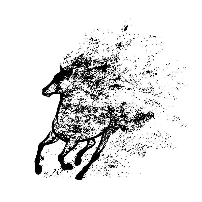 Идущий дизайн выплеска вектора черноты лошади мустанга иллюстрация штока