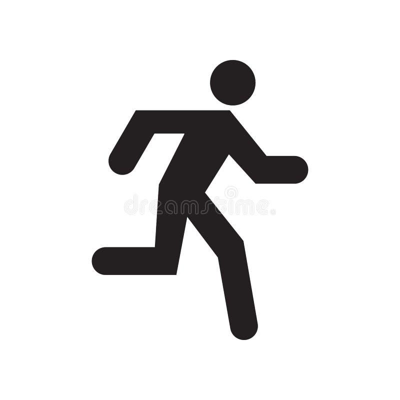 Идущий значок человека, черное изолированный на белой предпосылке, иллюстрации бесплатная иллюстрация