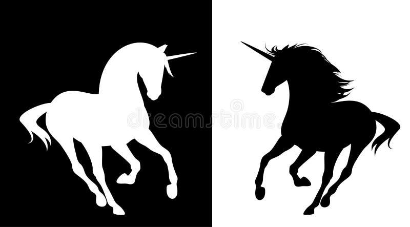 Идущий набор вектора силуэта лошади единорога иллюстрация штока