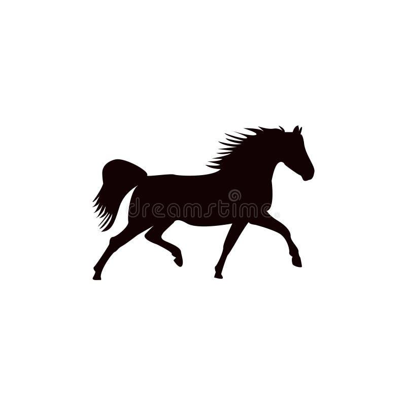 Идущий силуэт черноты лошади иллюстрация вектора