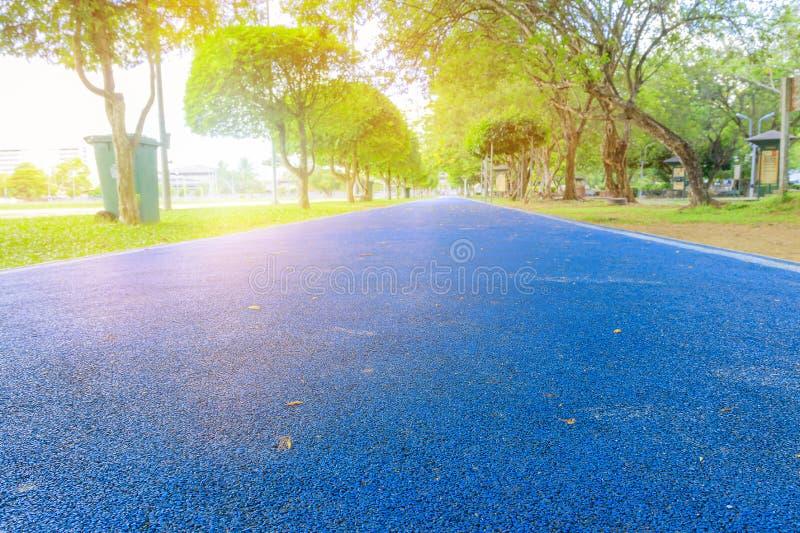 Идущий след в общественном парке сини крышки бегуна резиновом для joggi стоковое фото rf