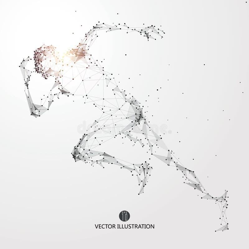 Идущий человек, пункты, линии и соединенный к форме, иллюстрации вектора иллюстрация вектора