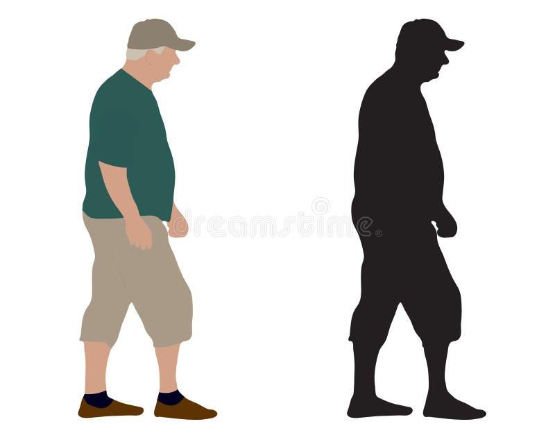 Идя старик и силуэт, иллюстрация вектора, изолированная на белой предпосылке бесплатная иллюстрация