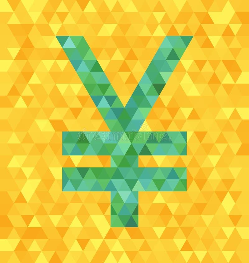 Иены зеленого цвета вектора треугольника/символ юаней на желтом фоне бесплатная иллюстрация