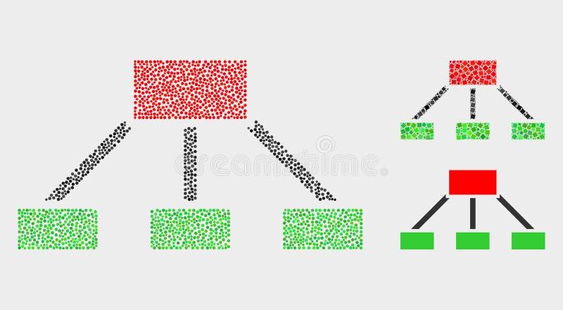 Иерархия вектора Pixelated соединяет значки иллюстрация вектора