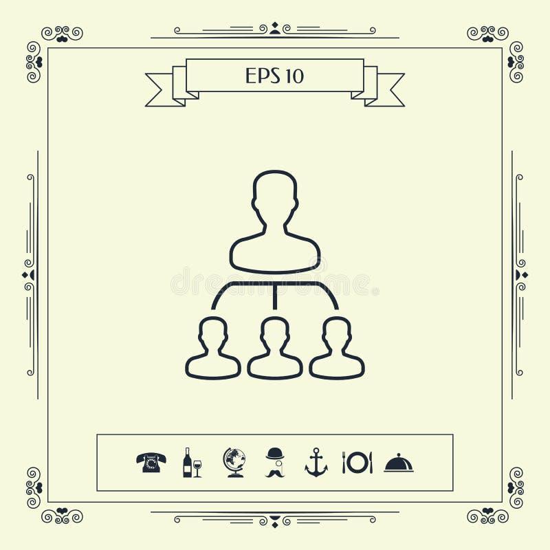 Иерархия - линия значок иллюстрация вектора