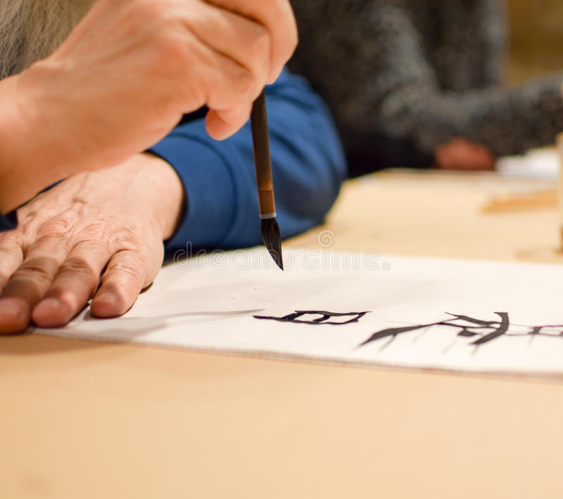 Иероглиф китайца чертежа каллиграфии мастерский стоковые фотографии rf