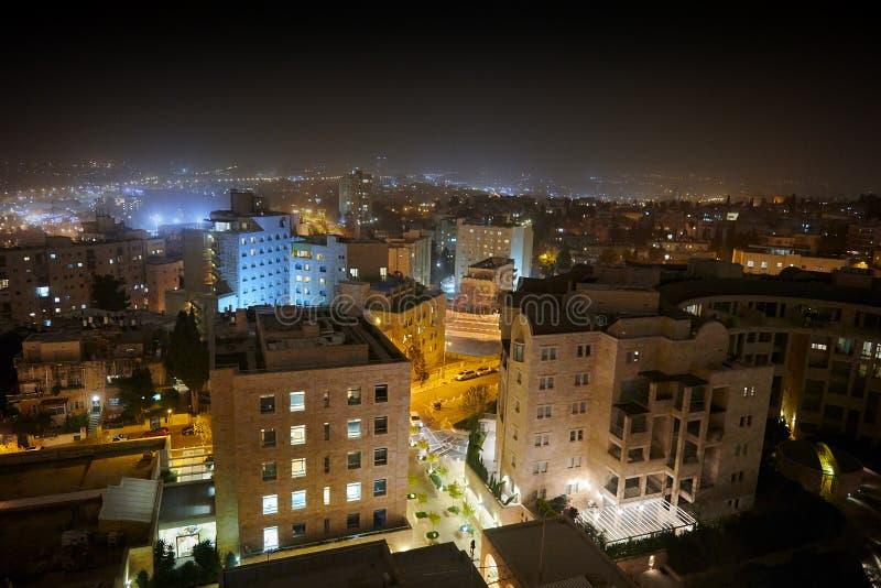 Иерусалим вечером, Израиль Взгляд городского пейзажа сверху стоковое фото