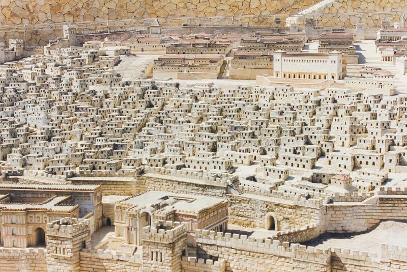 ИЕРУСАЛИМ, ИЗРАИЛЬ - 13-ОЕ ОКТЯБРЯ 2018: Модель Иерусалима во втором периоде виска стоковые изображения