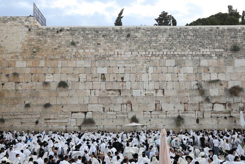 Иерусалим/Израиль - 16 октября 2019 года: Благословение Священства или священнослужения, Западная стена, старый город стоковые изображения