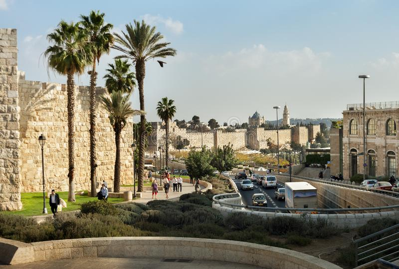 Иерусалим, на старой городской стене стоковые фото