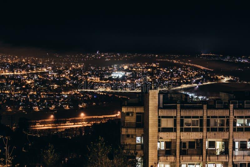 Иерусалим, ночь, старое sity стоковая фотография