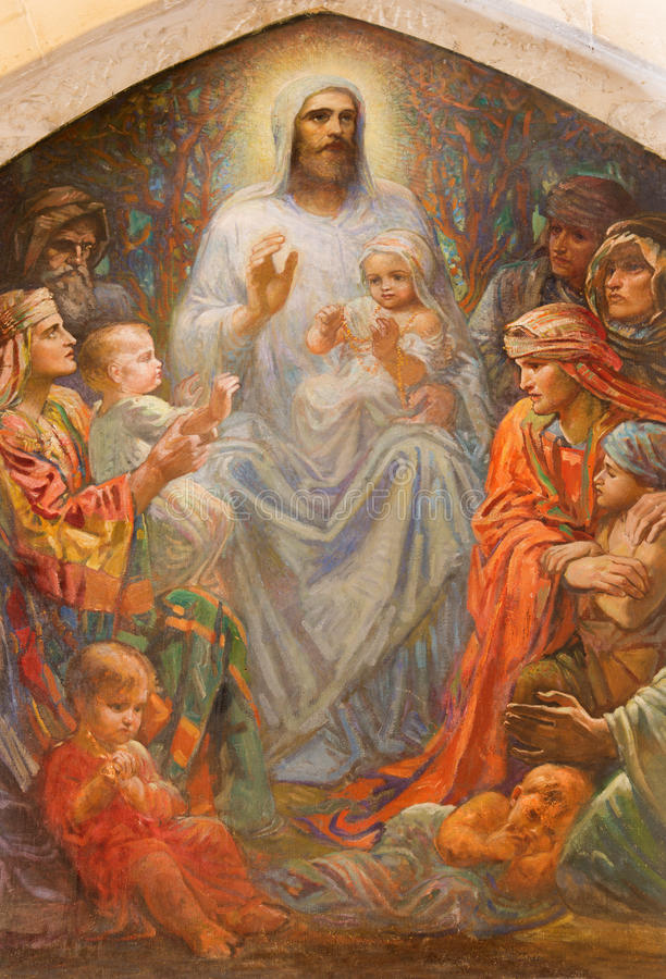 Иерусалим - Иисуса среди детей в англиканская церковь St. George от конца 19 цент стоковое изображение rf