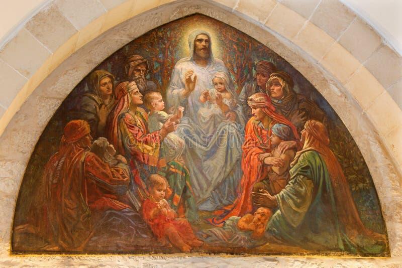 Иерусалим - Иисуса среди детей в англиканская церковь St. George от конца 19 цент стоковые изображения