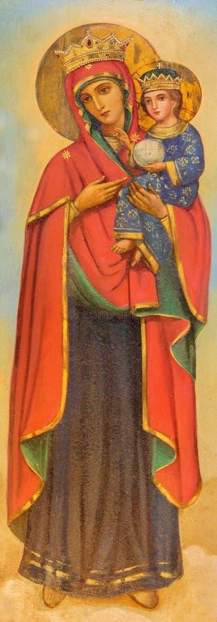 Иерусалим - картина Madonna на древесине в усыпальнице православной церков церков девой марии неизвестным художником стоковое изображение rf