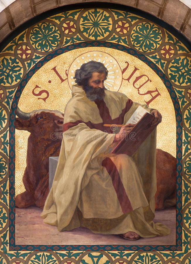 Иерусалим - краска St Luke евангелист в церков st Stephens от года 1900 Иосиф Aubert стоковые изображения