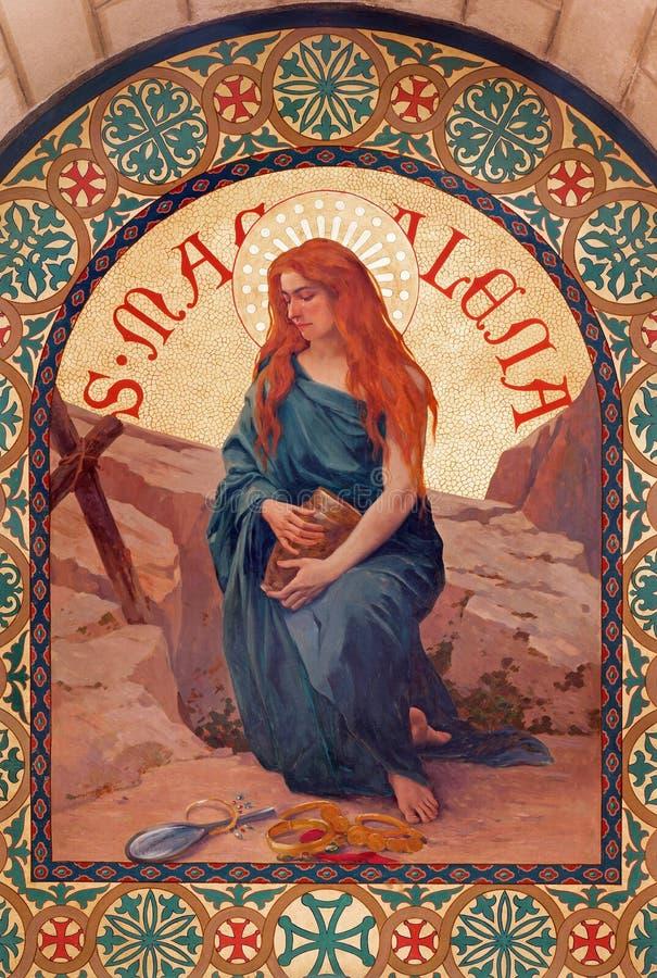 Иерусалим - краска St Mary Магдалена в церков st Stephens от года 1900 Иосиф Aubert стоковые изображения