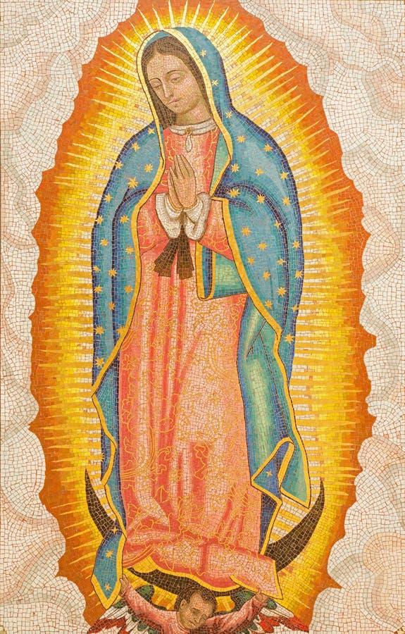 Иерусалим - мозаика нашей дамы Guadalupe в аббатстве Dormition стоковая фотография rf