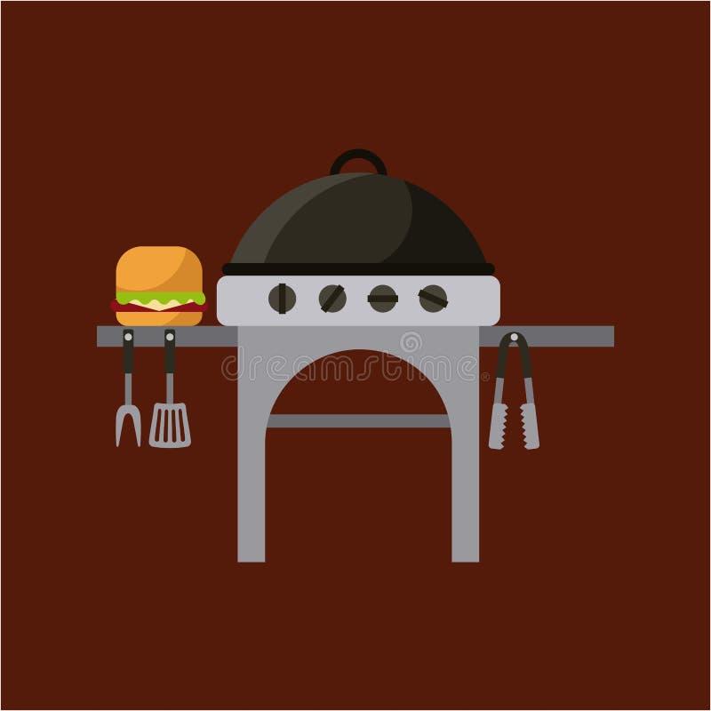 дизайн гриля барбекю иллюстрация вектора