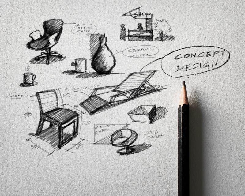 дизайн концепции мебели делая эскиз к на белой бумаге стоковое изображение rf