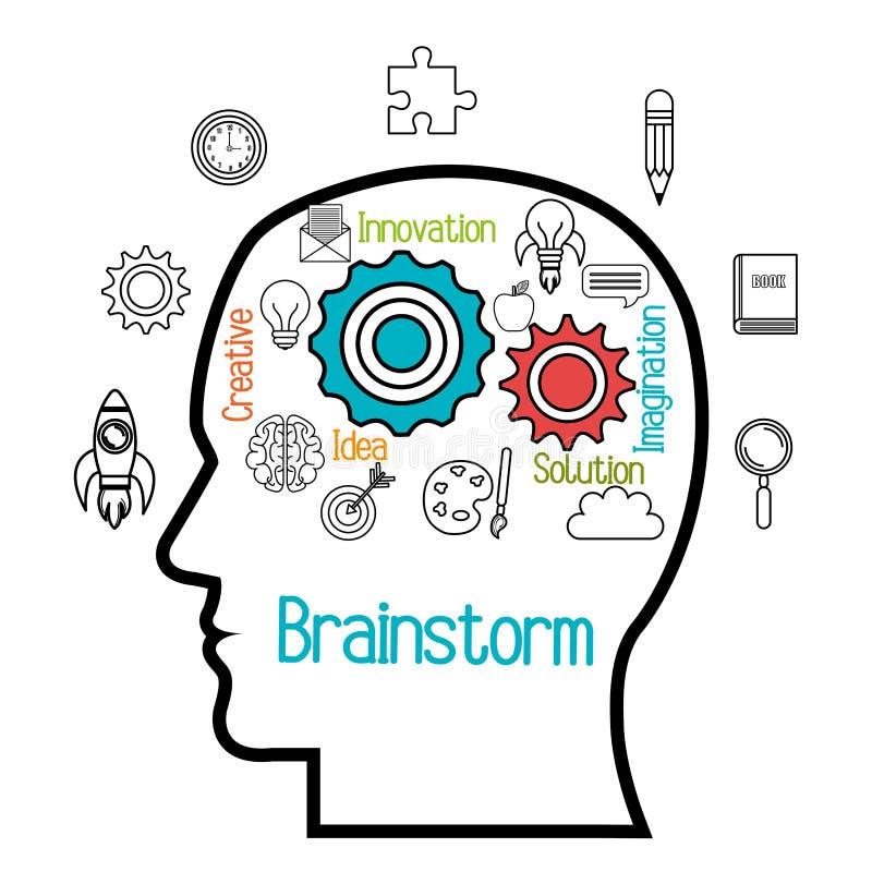 дизайн мозга бушуя иллюстрация вектора