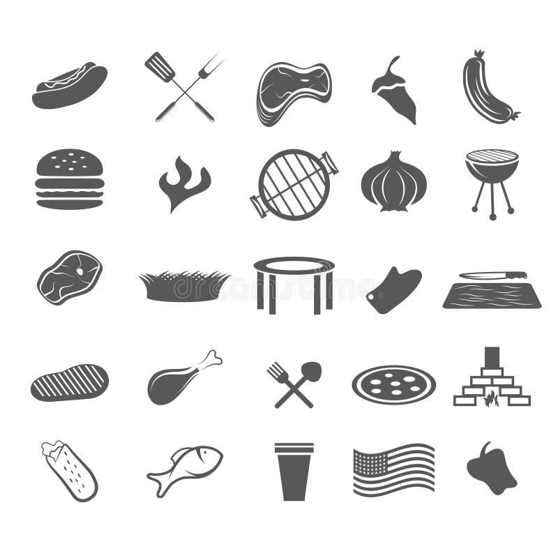 дизайн сети фаст-фуда установленный значками плоский бесплатная иллюстрация