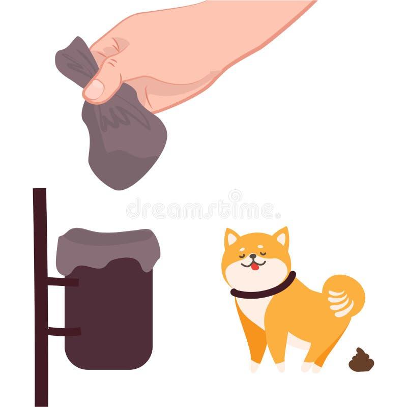 Избавление и чистка фекалий после собаки иллюстрация штока
