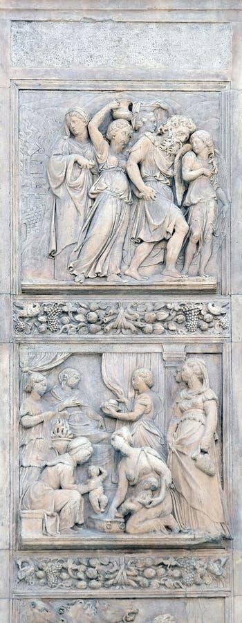 Избежание Loth поднимающего вверх и рождение Esau и Джейкоба вниз стоковые изображения