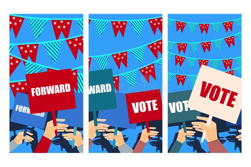 Избирательная кампания, голосование избрания, плакат избрания, держа плакаты вектор бесплатная иллюстрация