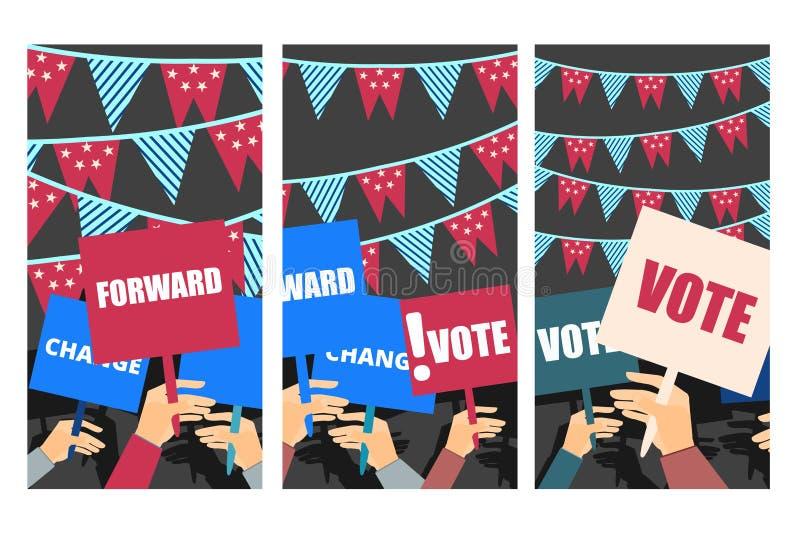 Избирательная кампания, голосование избрания, плакат избрания иллюстрация вектора