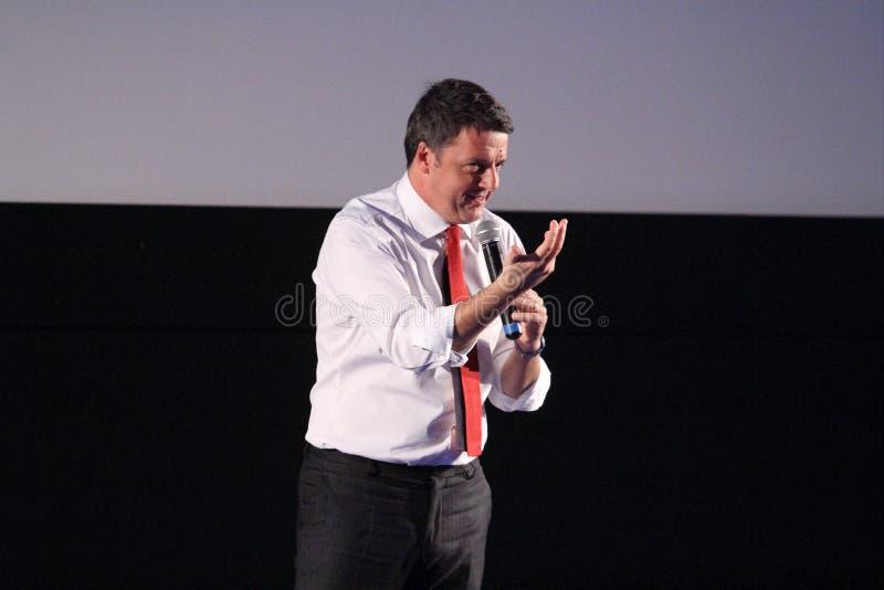 Избирательная кампания Matteo Renzi для конституционного референдума стоковое фото rf