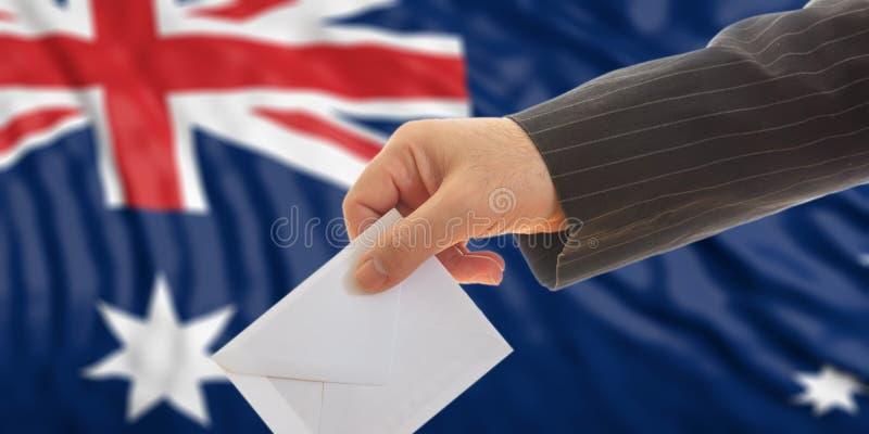 Избиратель на предпосылке флага Австралии иллюстрация 3d стоковое изображение