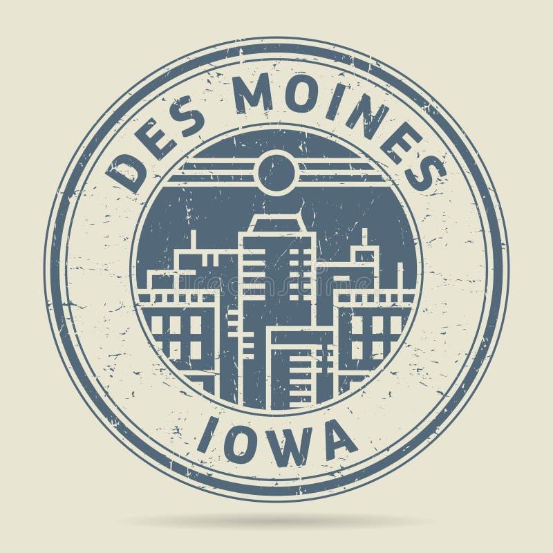 Избитая фраза или ярлык Grunge с текстом Des Moines, Айовой иллюстрация вектора