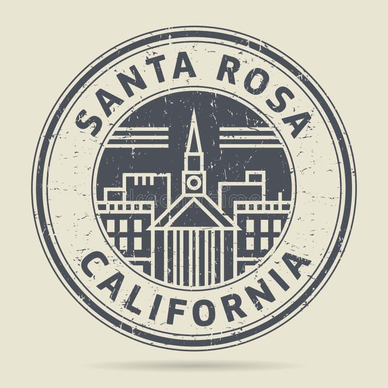 Избитая фраза или ярлык Grunge с текстом Santa Rosa, Калифорнией иллюстрация вектора