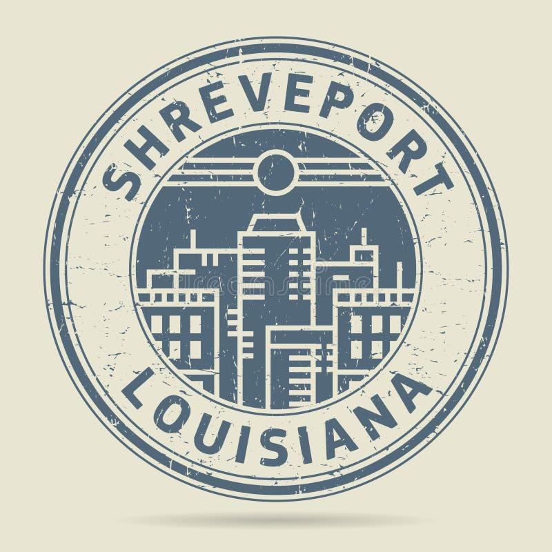 Избитая фраза или ярлык Grunge с текстом Shreveport, Луизианой иллюстрация штока