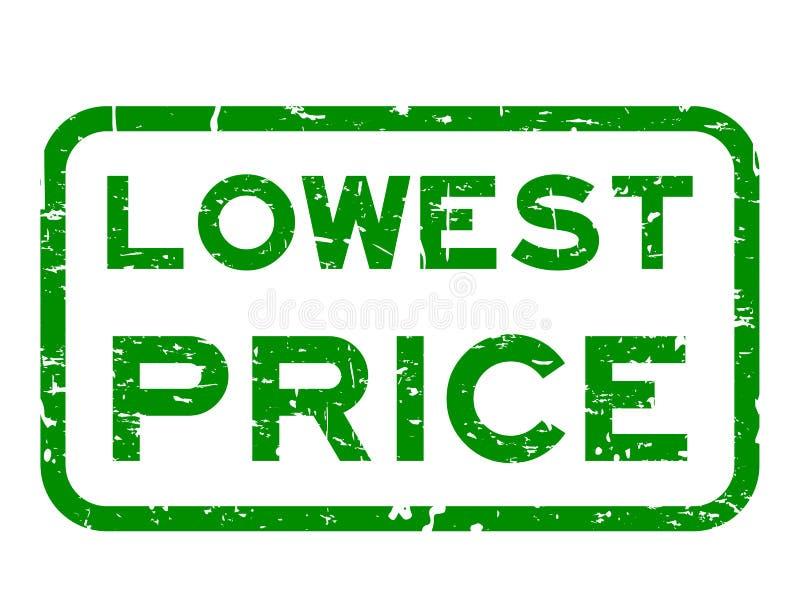 Избитая фраза самой низкой цены Grunge зеленая квадратная на белой предпосылке иллюстрация штока