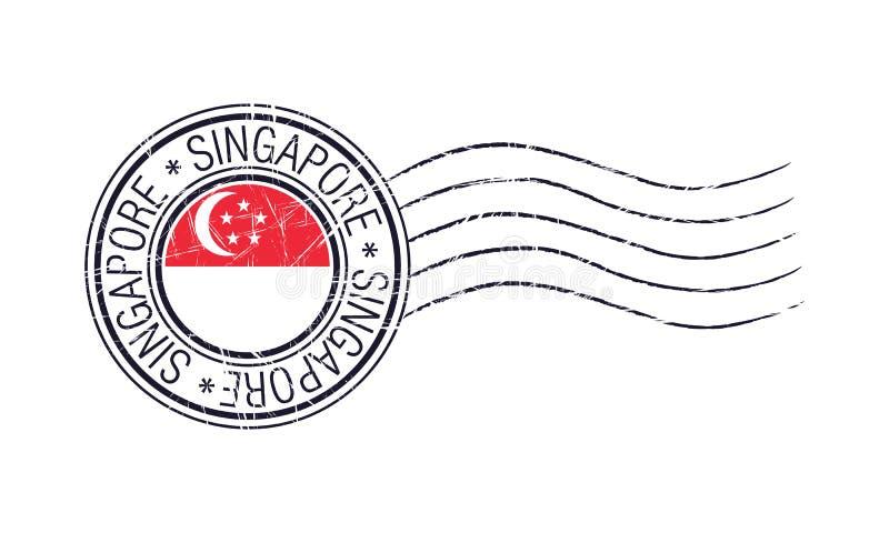 Избитая фраза grunge города Сингапура почтовая иллюстрация вектора