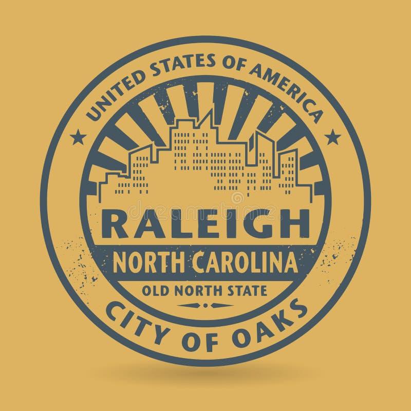 Избитая фраза Grunge с именем Raleigh, Северной Каролины иллюстрация штока