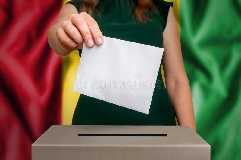 Избрание в Гвинее - голосующ на урне для избирательных бюллетеней стоковая фотография