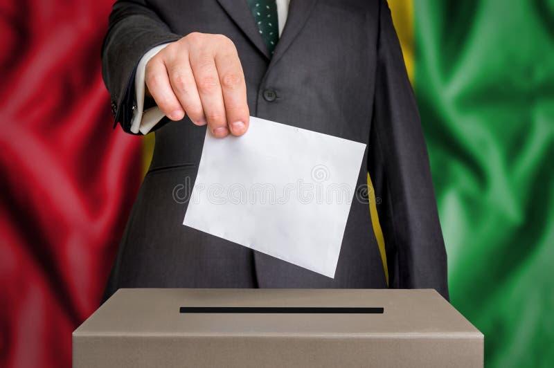 Избрание в Гвинее - голосующ на урне для избирательных бюллетеней стоковое изображение