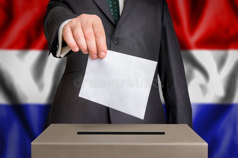 Избрание в Нидерландах - голосующ на урне для избирательных бюллетеней стоковая фотография