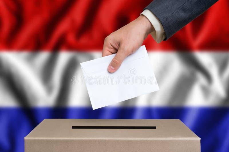 Избрание в Нидерландах - голосующ на урне для избирательных бюллетеней стоковое фото