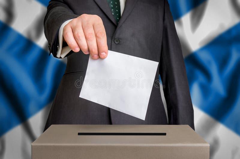 Избрание в Шотландии - голосующ на урне для избирательных бюллетеней стоковые фотографии rf