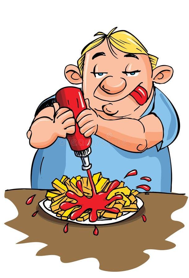 избыточный вес человека еды шаржа иллюстрация штока