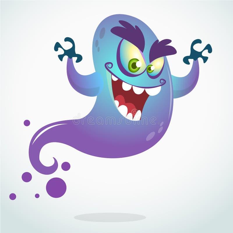 Изверг летания шаржа Vector иллюстрация хеллоуина усмехаясь фиолетового призрака с руками вверх иллюстрация вектора