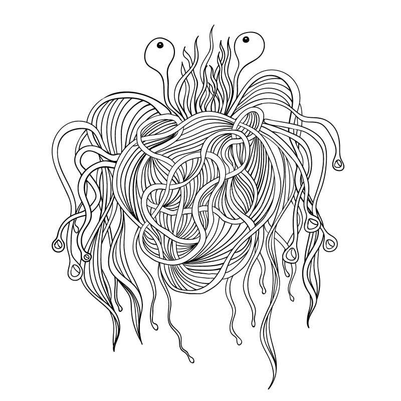 Изверг макаронных изделий Бог Pastafarian иллюстрация вектора