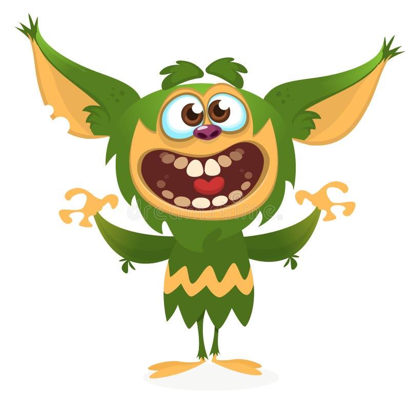Изверг шаржа сердитый зеленый Иллюстрация вектора Halloween иллюстрация вектора
