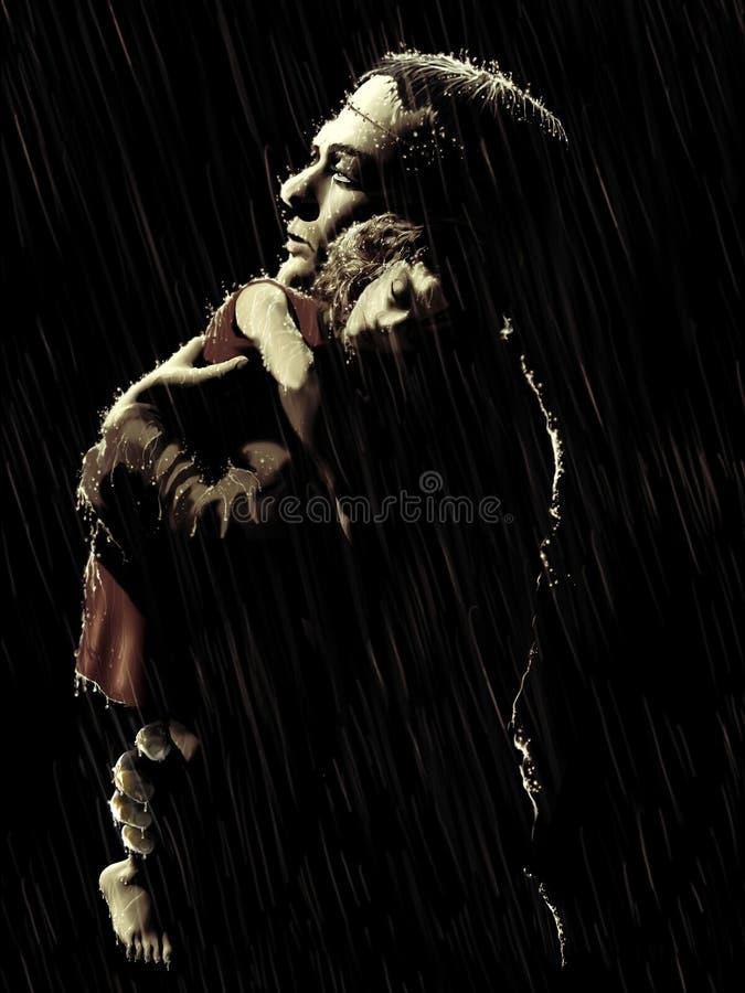 Изверг Frankenstein и мертвая девушка иллюстрация штока